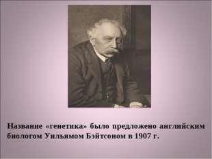 Название «генетика» было предложено английским биологом Уильямом Бэйтсоном в