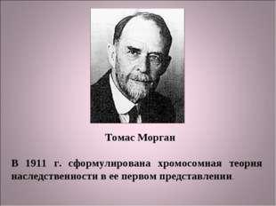 Томас Морган В 1911 г. сформулирована хромосомная теория наследственности в е