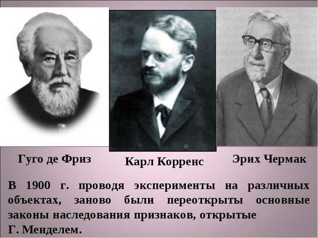 Гуго де Фриз Карл Корренс Эрих Чермак В 1900 г. проводя эксперименты на разли...