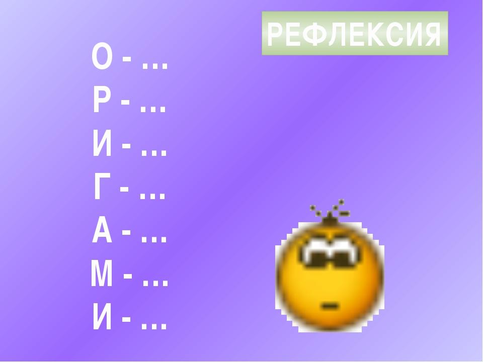 РЕФЛЕКСИЯ О - … Р - … И - … Г - … А - … М - … И - …