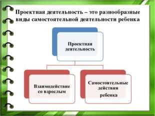 Проектная деятельность – это разнообразные виды самостоятельной деятельности