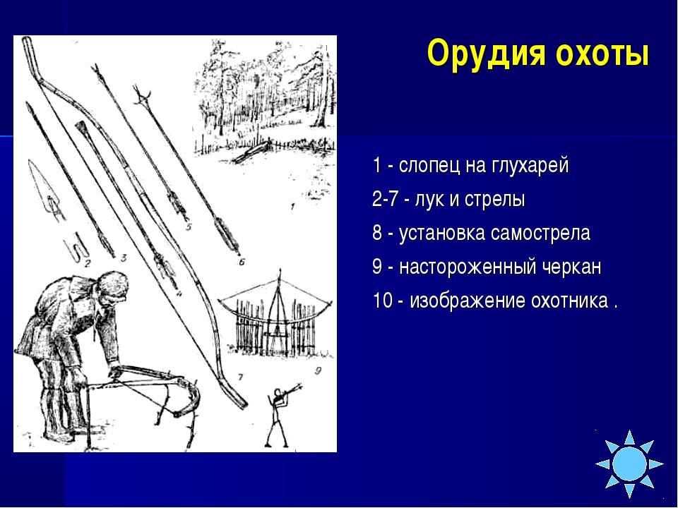 Орудия охоты 1 - слопец на глухарей 2-7 - лук и стрелы 8 - установка самостр...