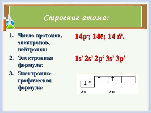 Строение атома: Число протонов, электронов, нейтронов: Электронная формула: Э...