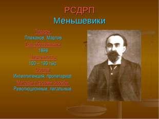 РСДРП Меньшевики Лидеры: Плеханов, Мартов Год образования: 1898 Численность: