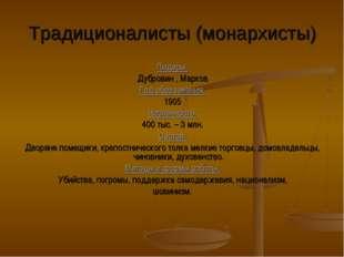 Традиционалисты (монархисты) Лидеры: Дубровин , Марков Год образования: 1905