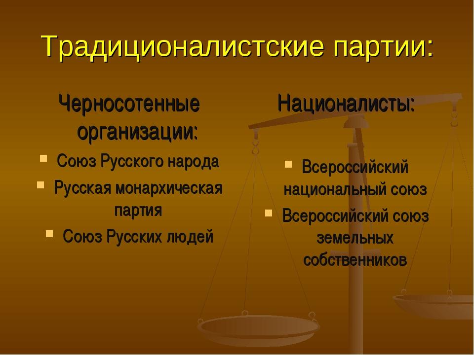 Традиционалистские партии: Черносотенные организации: Союз Русского народа Ру...