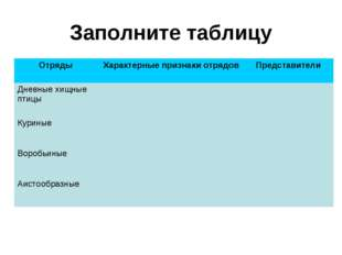 Заполните таблицу F Отряды Характерные признаки отрядов Представители Дневн