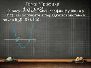 На рисунке изображен график функции y = f(x). Расположите в порядке возрастан
