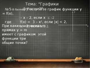 № 5 (6 баллов). Постройте график функции y = f(x), – x – 2, если x ≤ -2 где