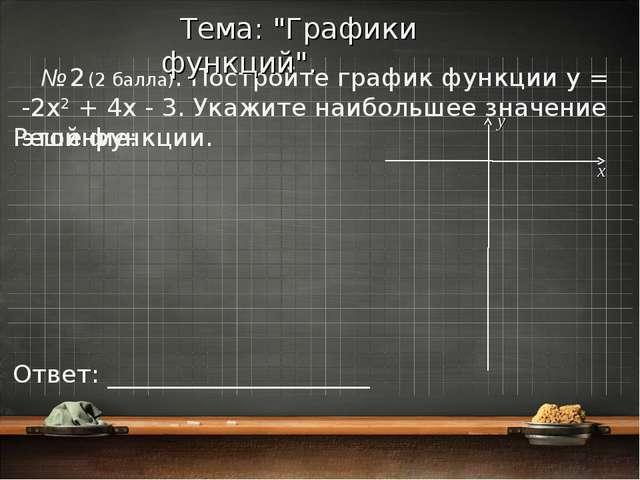 № 2 (2 балла). Постройте график функции y = -2x2 + 4x - 3. Укажите наибольшее...