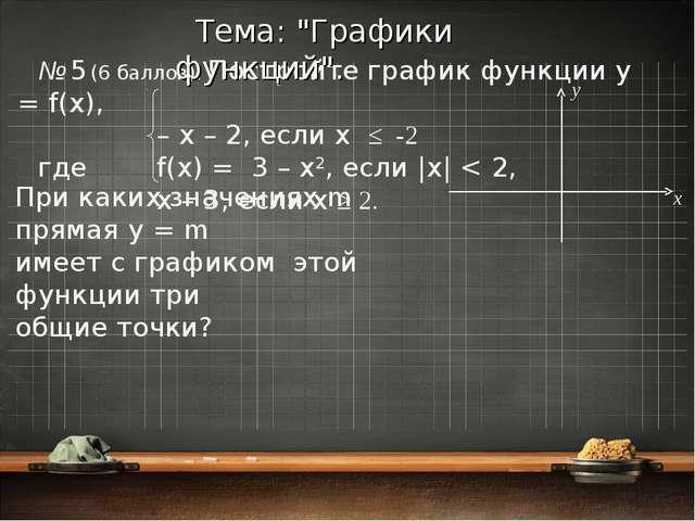 № 5 (6 баллов). Постройте график функции y = f(x), – x – 2, если x ≤ -2 где...