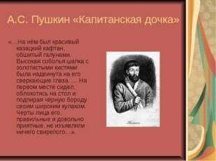 А.С. Пушкин «Капитанская дочка» «…На нём был красивый казацкий кафтан, обшиты