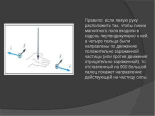 Правило: если левую руку расположить так, чтобы линии магнитного поля входил