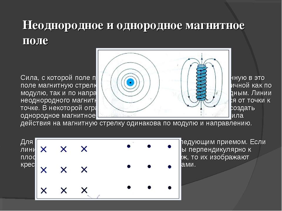 Неоднородное и однородное магнитное поле  Сила, с которой поле полосового ма...
