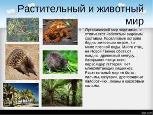 Растительный и животный мир Органический мир эндемичен и отличается небогатым