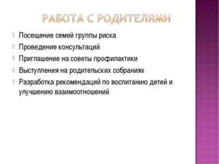 Посещение семей группы риска Проведение консультаций Приглашение на советы пр