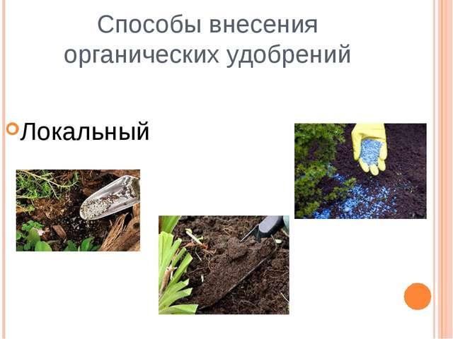 Способы внесения органических удобрений Локальный