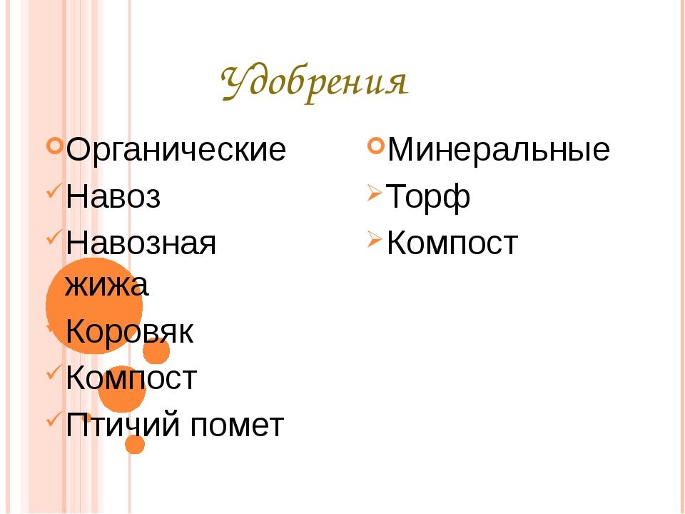 Удобрения Органические Навоз Навозная жижа Коровяк Компост Птичий помет Минер...