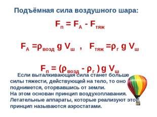 Fп = FA - Fтяж FA =возд g Vш , Fтяж =г g Vш Fп = (возд - г ) g Vш Если вы