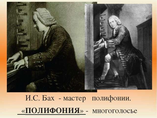 И.С. Бах - мастер полифонии. «ПОЛИФОНИЯ» - многоголосье 