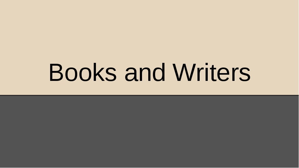 Books and Writers