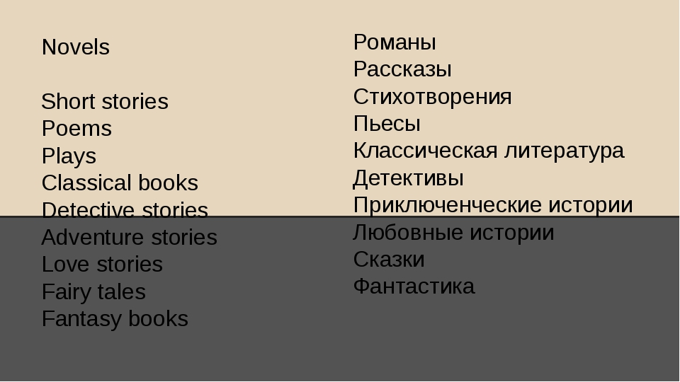 Novels Short stories Poems Plays Classical books Detective stories Adventure...