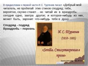 В предисловии к первой части И.С. Тургенев писал: «Добрый мой читатель, не пр