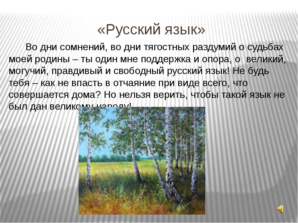 «Русский язык» Во дни сомнений, во дни тягостных раздумий о судьбах моей роди...