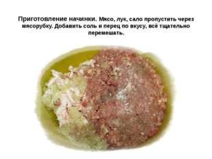 Приготовление начинки. Мясо, лук, сало пропустить через мясорубку. Добавить с
