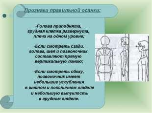Признаки правильной осанки: -Голова приподнята, грудная клетка развернута, п