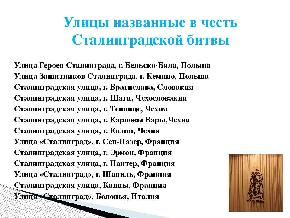 Улицы названные в честь Сталинградской битвы Улица Героев Сталинграда, г. Бе...