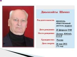 ДжыккайтыШамил Род деятельности: писатель, общественный деятель,педагог Дата