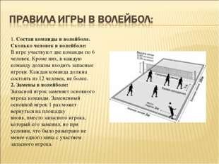 1.Состав команды в волейболе. Сколько человек в волейболе: В игре участвуют