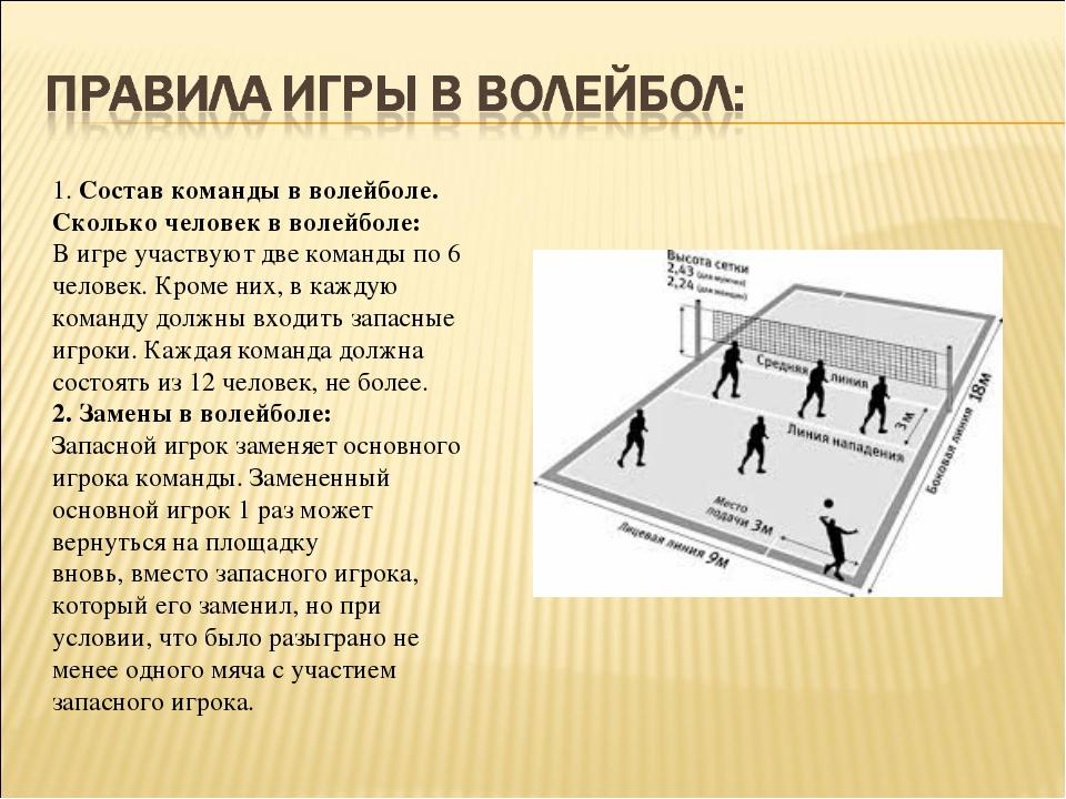 1.Состав команды в волейболе. Сколько человек в волейболе: В игре участвуют...
