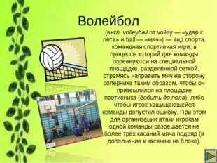 Волейбол (англ.volleyballот volley— «удар с лёта» и ball— «мяч»)— вид сп