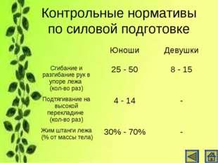 Контрольные нормативы по силовой подготовке ЮношиДевушки Сгибание и разгиба