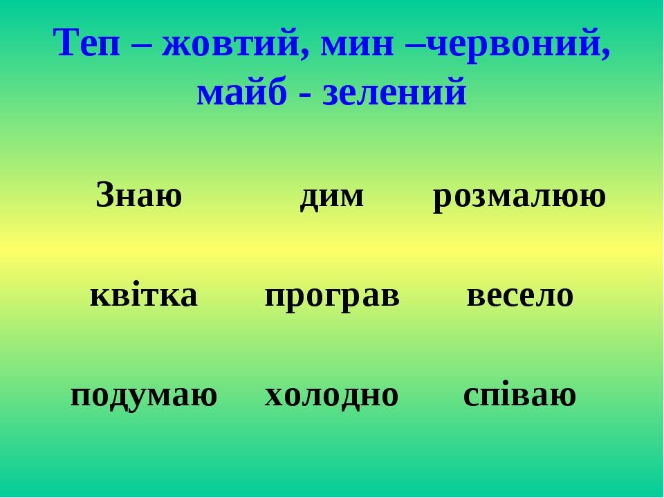 Теп – жовтий, мин –червоний, майб - зелений