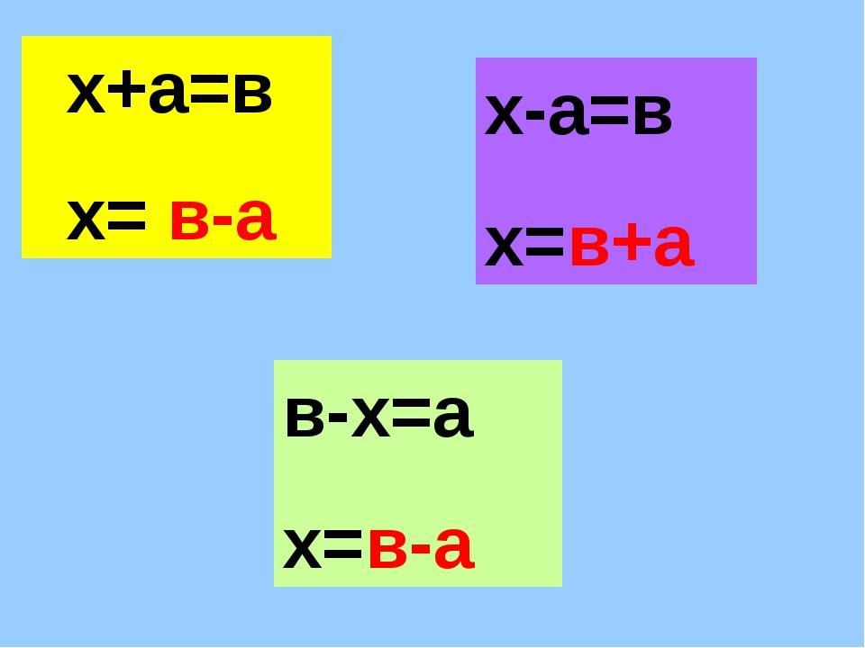 х+а=в х= х-а=в х= в-х=а х= х+а=в х= в-а х-а=в х=в+а в-х=а х=в-а