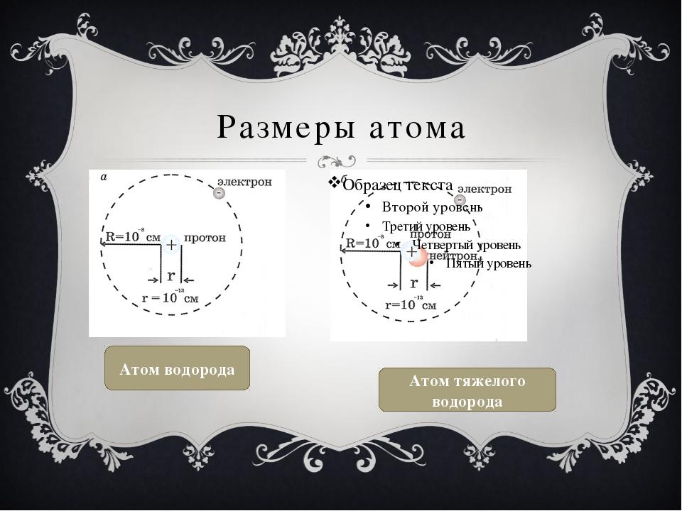Размеры атома Атом водорода Атом тяжелого водорода