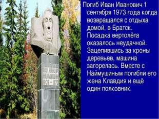 Погиб Иван Иванович 1 сентября 1973 года когда возвращался с отдыха домой, в