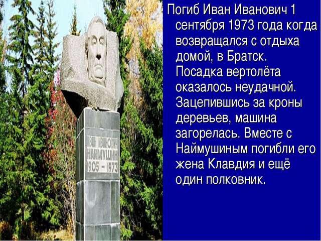 Погиб Иван Иванович 1 сентября 1973 года когда возвращался с отдыха домой, в...