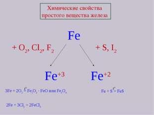 Химические свойства простого вещества железа Fe + O2, Cl2, F2  + S, I2 Fe+3