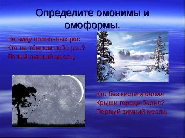 Определите омонимы и омоформы. На виду полночных рос Кто на тёмном небе рос?...