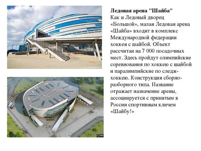 """Ледовая арена """"Шайба"""" Как и Ледовый дворец «Большой», малая Ледовая арена «Ша..."""