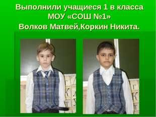 Выполнили учащиеся 1 в класса МОУ «СОШ №1» Волков Матвей,Коркин Никита.