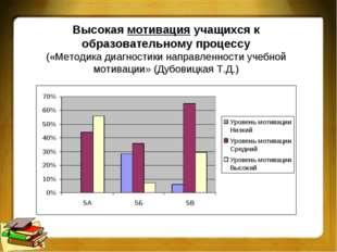 Высокая мотивация учащихся к образовательному процессу («Методика диагностики