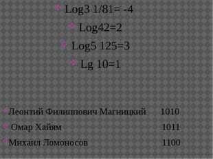 Log3 1/81= -4 Log42=2 Log5125=3 Lg 10=1 Леонтий Филиппович Магницкий 1010 О