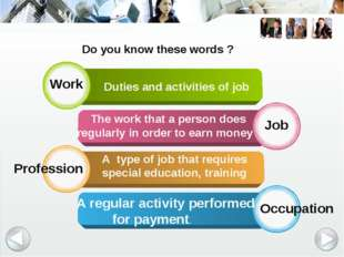 Work Job Profession Occupation Duties and activities of job The work that a p