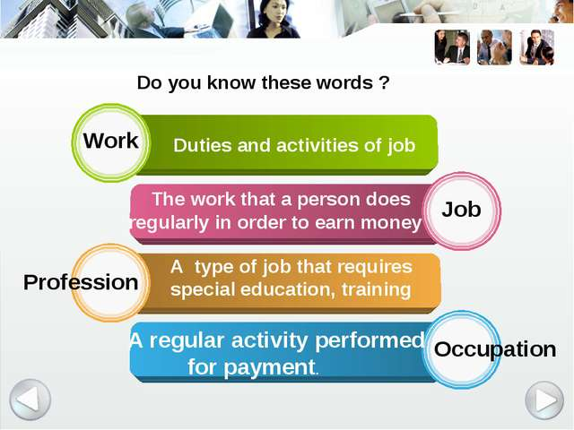 Work Job Profession Occupation Duties and activities of job The work that a p...