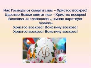 Нас Господь от смерти спас – Христос воскрес! Царство Божье светит нас – Хрис